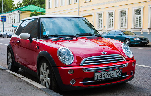 Red Mini Cooper Parked At The Roadside Stock Photo - Download Image Now