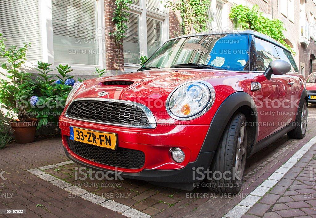 Red Mini Cooper stock photo