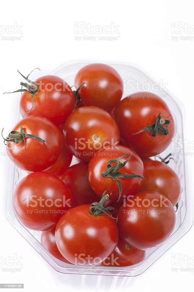red mini tomatoes in packaging royalty-free stock photo