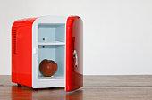 istock Red miniature fridge 94072222