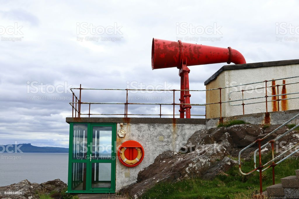 Red misthorn at Ardnamurchan Lighthouse in Scotland stock photo