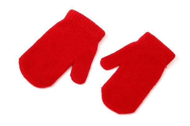 luvas vermelhas sobre branco - mitene imagens e fotografias de stock
