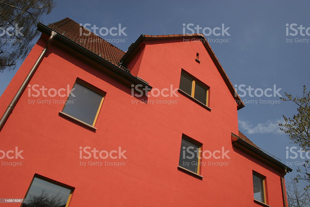 Red modern and new built house stock photo