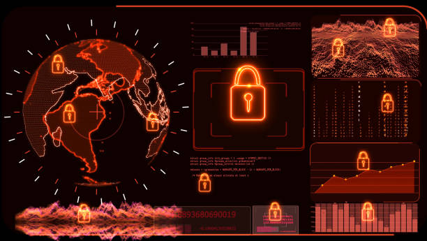 Red monitor digital global world map and technology research analysis to protect ransomware encryption stock photo
