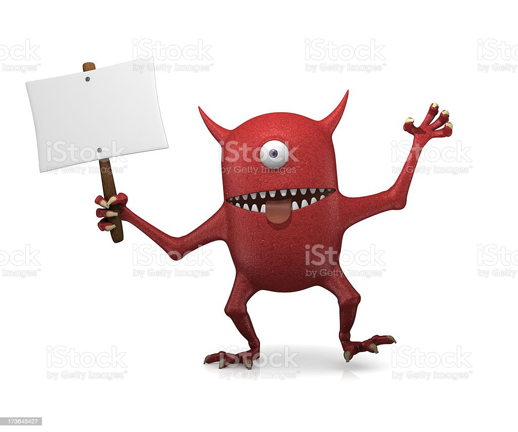 Red monster with sign royalty-free stock photo