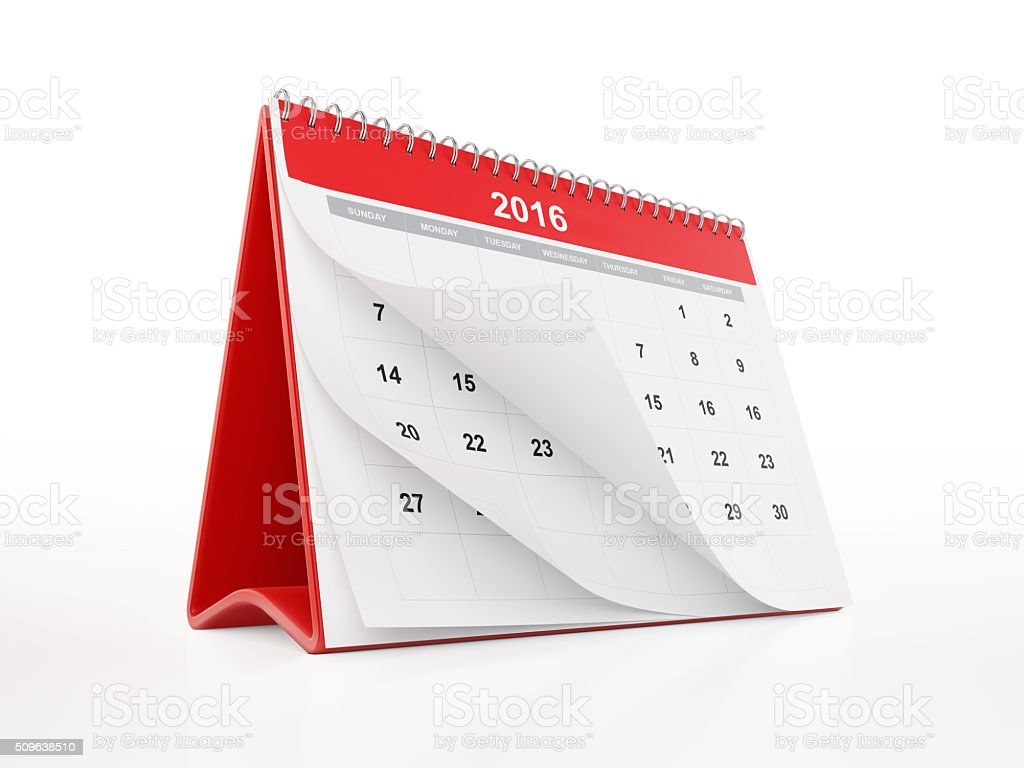 Red Monthly Desktop Calendar stock photo