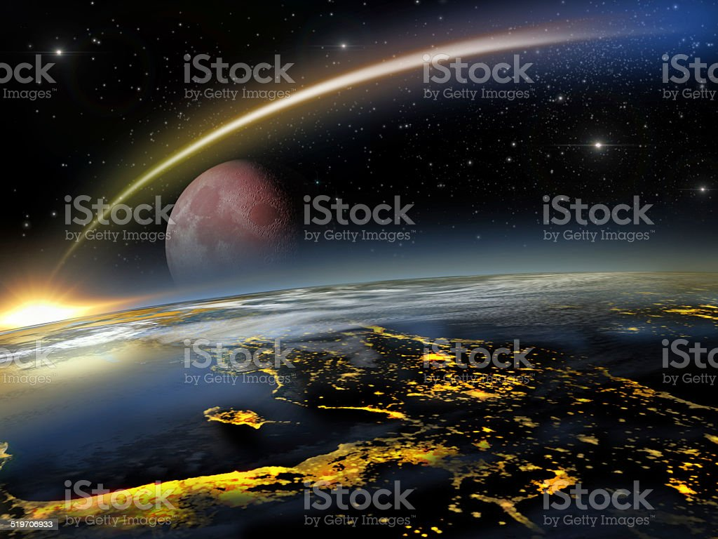 Red moon and asteroid hitting Earth stock photo