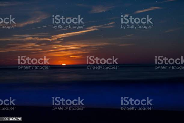 Photo of Red Moon Rising Above The Sea