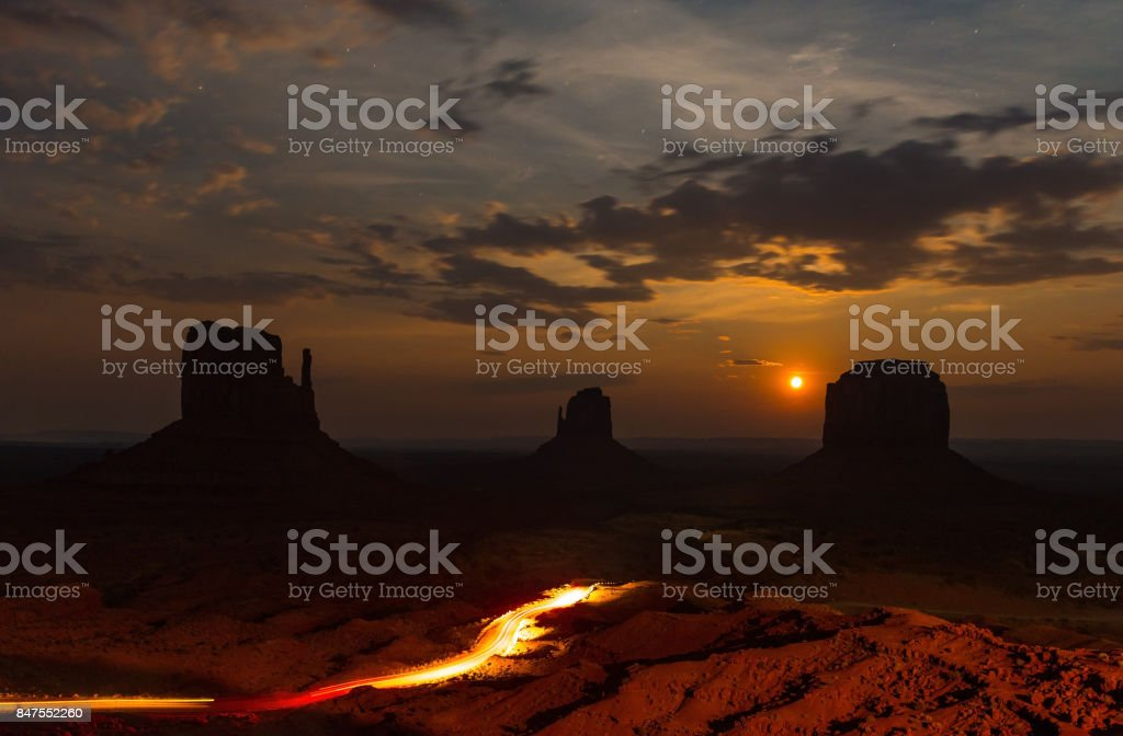 Red Moon Rising stock photo