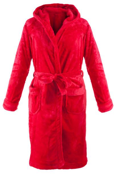 red morning gown - accappatoio foto e immagini stock