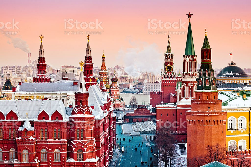 Red Moscow at winter sunset stock photo