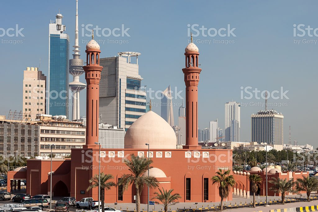 Red Mosque in Kuwait City stock photo