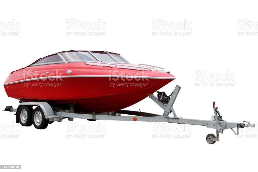 Red motor boat stock photo