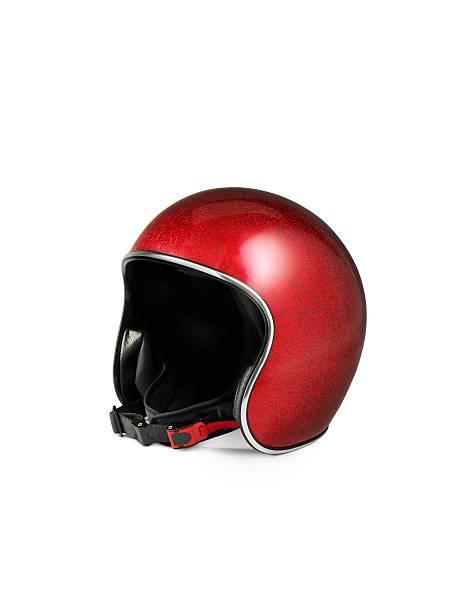 czerwony kask motocykl na białym tle - kask sportowy zdjęcia i obrazy z banku zdjęć