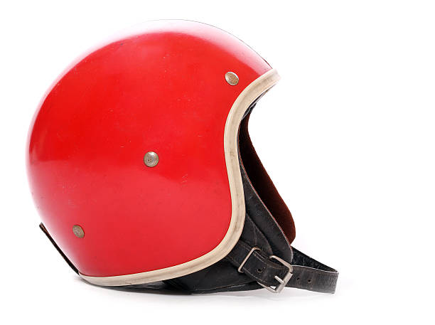Red motorcycle helmet. stock photo