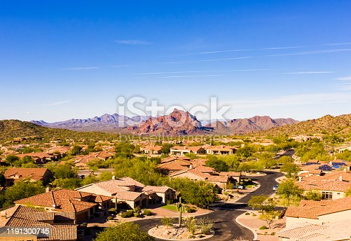 An aerial view of Red Mountain located in Mesa Arizona.