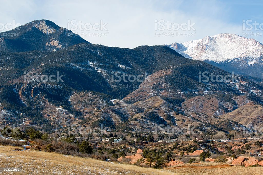 Red Mountain and East Face of Pikes Peak in Winter stock photo