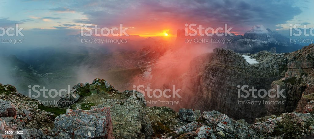 Red mountain landscape panorama, Dolomiti royalty-free stock photo