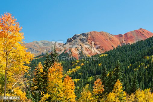 Red Mountain#1 in Autumn along Million Dollar Highway, Colorado, USA
