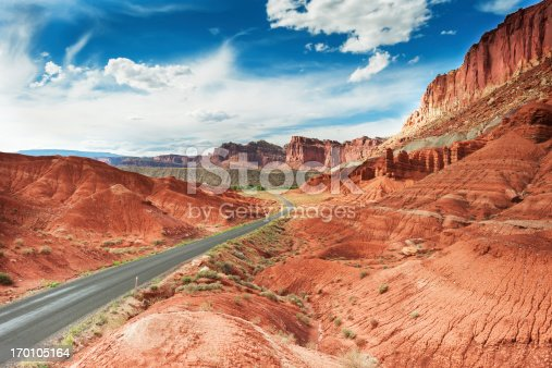 Beautiful Red mountains in Capitol Reef - national park in Utah, USA.