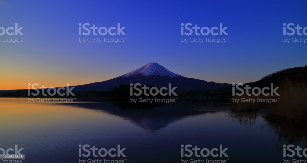 Red Mt. Fuji at dawn from Lake'Kawaguchi'Japan stock photo