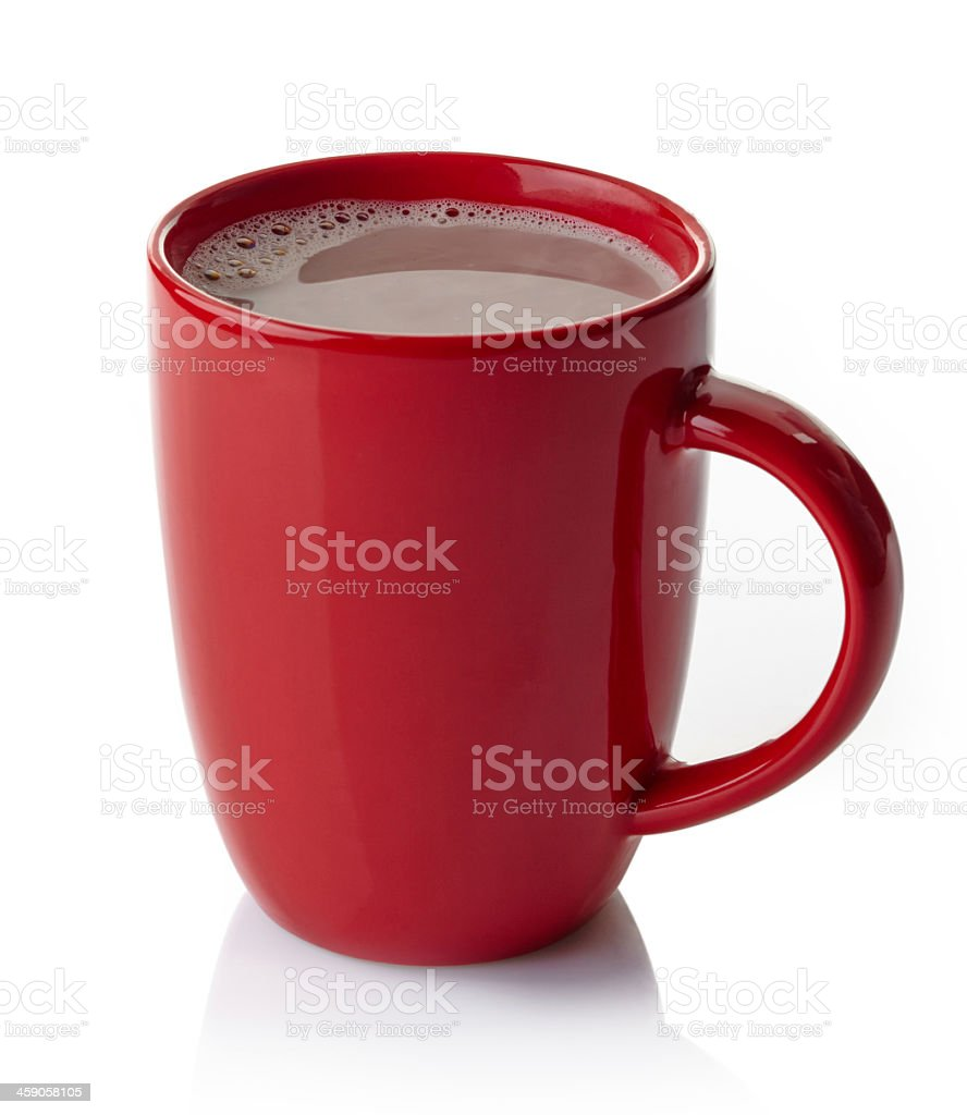 Red mug filled with hot chocolate on white background stock photo