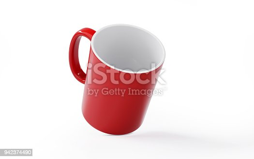 Red mug on white background. Horizontal composition with copy space. Clipping path is included.