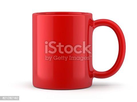 Red Mug Isolated on White Background