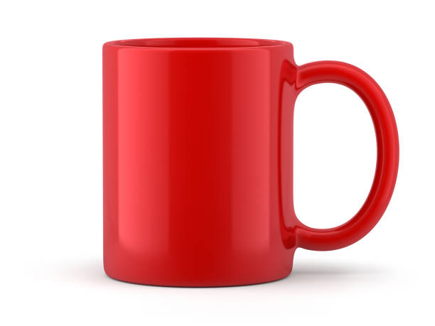 red mug isolated - tazza foto e immagini stock