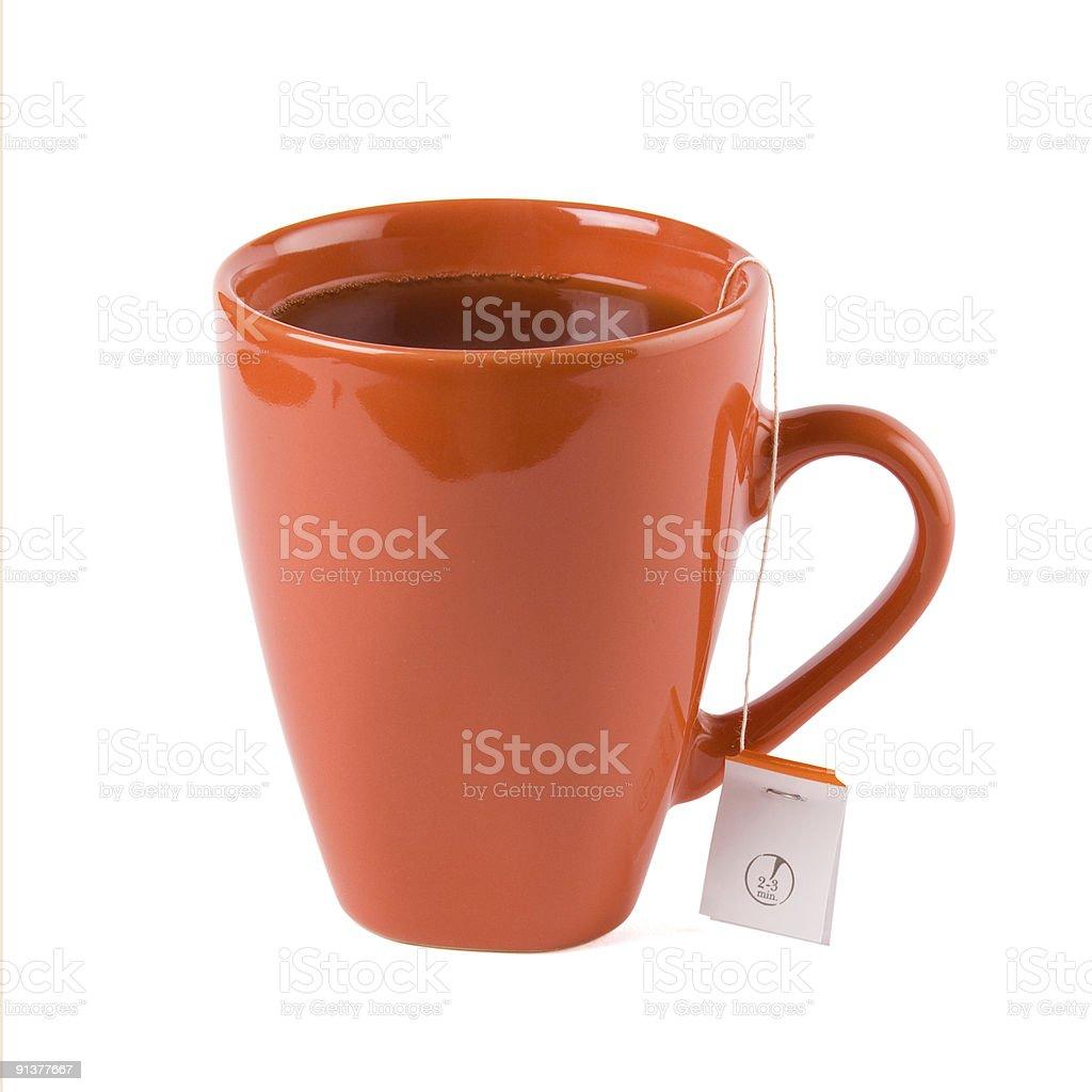 Red mug with tea stock photo