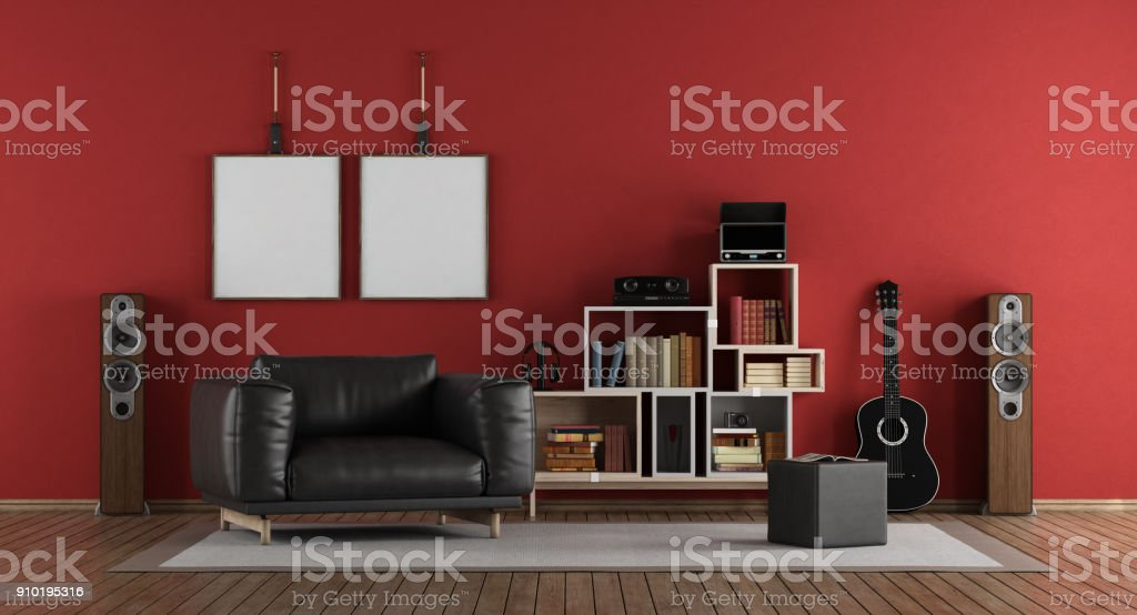 red music room stock photo more pictures of apartment istock rh istockphoto com