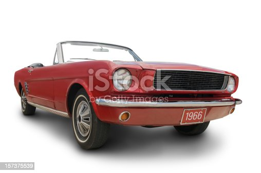 Original Red 1966 Mustang Convertible. Clipping Path on Vehicle.