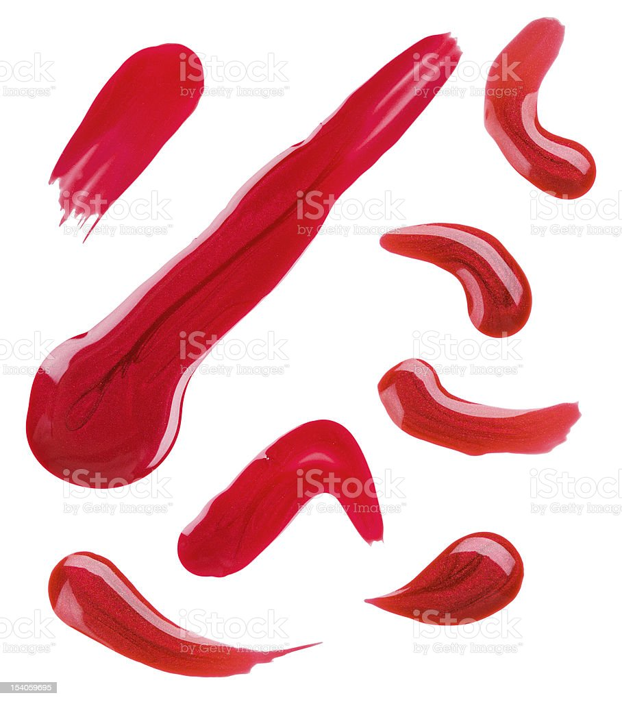 Red nail polish (enamel) drops sample, isolated on white stock photo