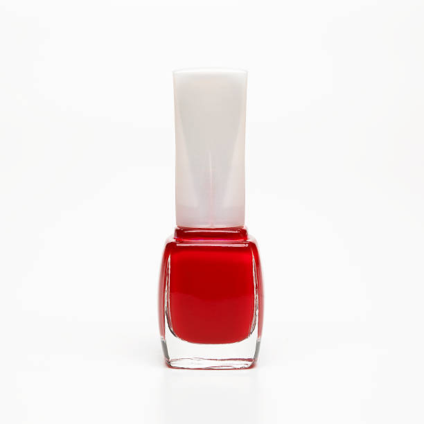 red nail polish stock photo