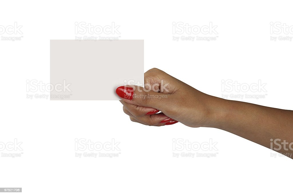 Red nail polished female hand with a blank card royalty-free stock photo