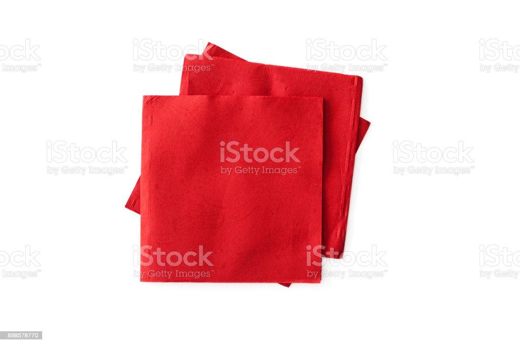 Serviettes de table en rouges sur fond blanc - Photo