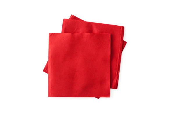 Red napkins on the white background stock photo