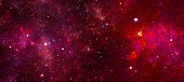 Red nebula in deep space
