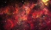 Red nebula stars sky