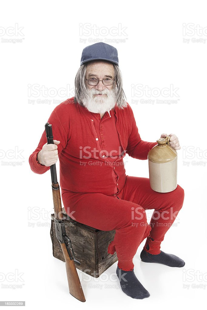 Red Neck with Gun and Alcohol stock photo