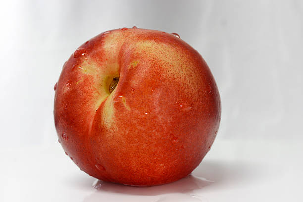 Red nectarine from side view stock photo