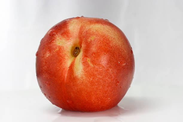 Red Nectarine front view stock photo