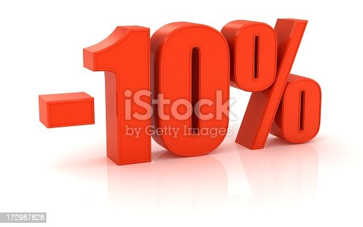istock Red negative ten percent against white background 172987828