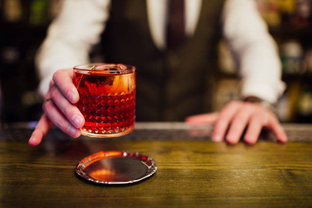 A red Negroni cocktail stock photo