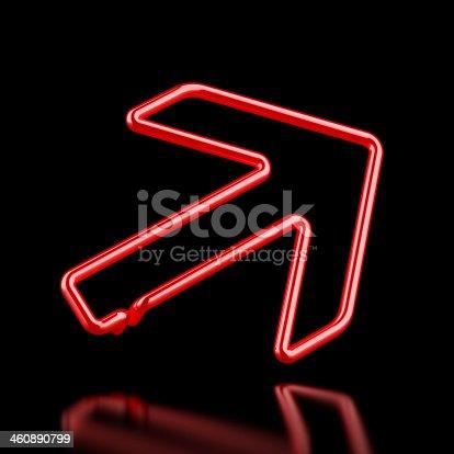 istock Red Neon arrow 460890799