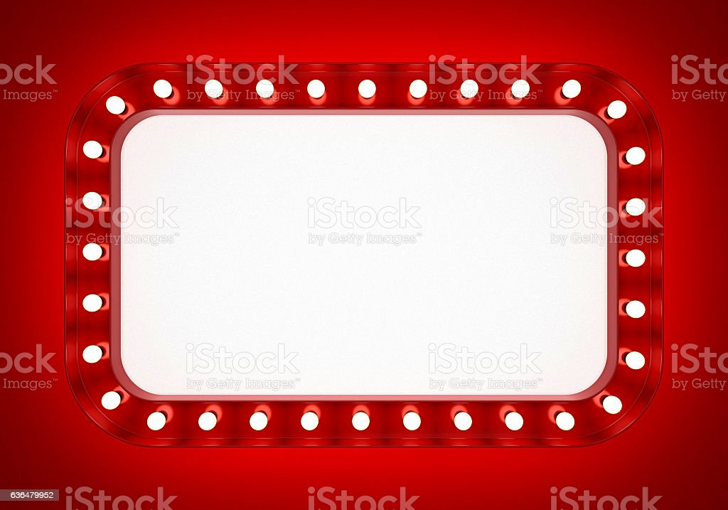 Red neon banner on red background