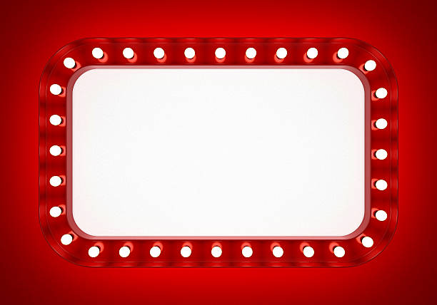 red neon banner on red background - enseigne lumineuse photos et images de collection