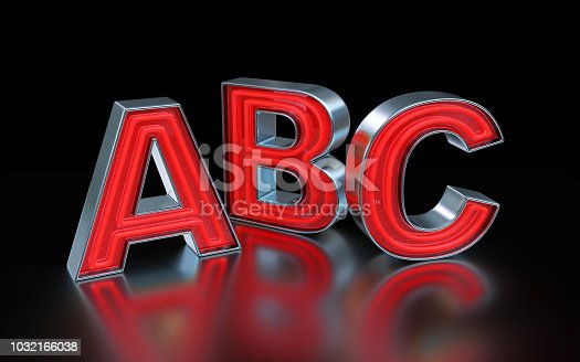 istock Red neon font - ABC 1032166038