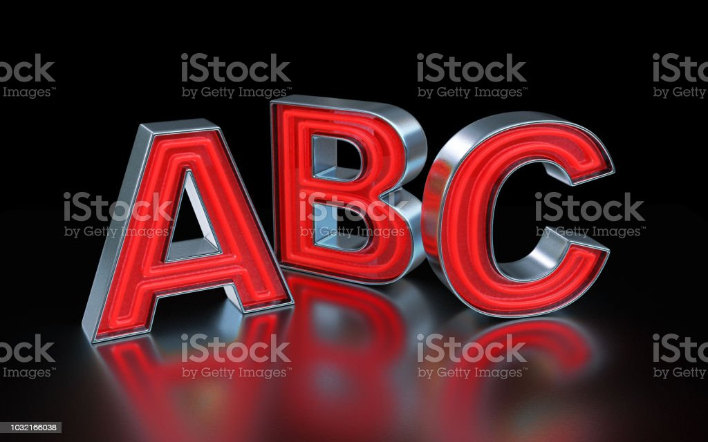 Red neon font - ABC stock photo