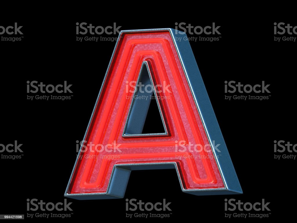 Red neon font - Letter A stock photo